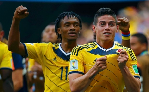 Colombia's+James+Rodriguez+(R)+celebrates+scoring+against+Ivory+Coast+during+their+2014+World+Cup+Group+C+soccer+match+at+the+Brasilia